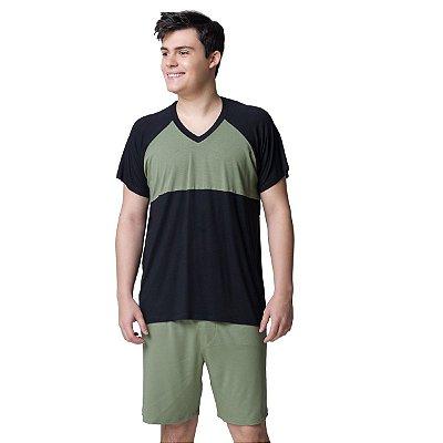 Pijama Masculino Curto Verde Eco e Preto