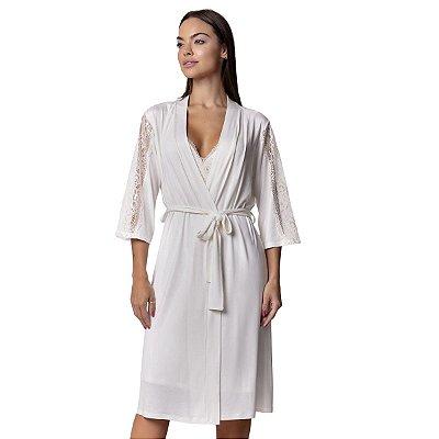 Robe Feminino Midi Off White com Renda