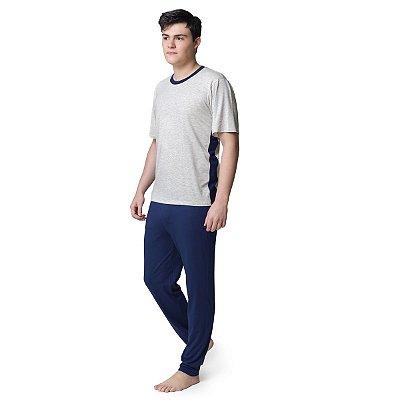 Pijama Masculino Longo Azul Marinho e Mescla