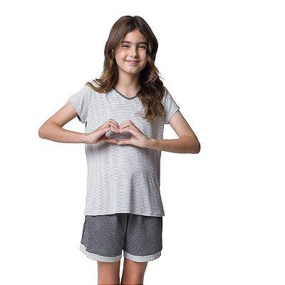 Pijama Feminino Infantil Curto Mescla Listradinho