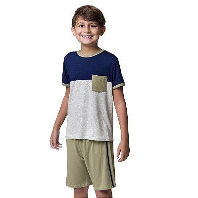 Pijama Masculino Infantil Curto Tricolor