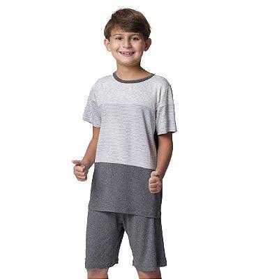 Pijama Masculino Infantil Curto Mescla Listradinho