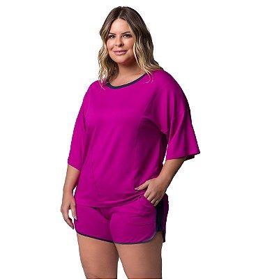 Pijama Feminino Curto Plus Size com Bolso Orquídea
