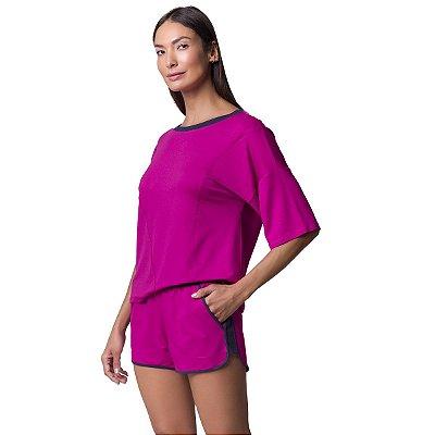 Pijama Feminino Curto com Bolso Orquídea