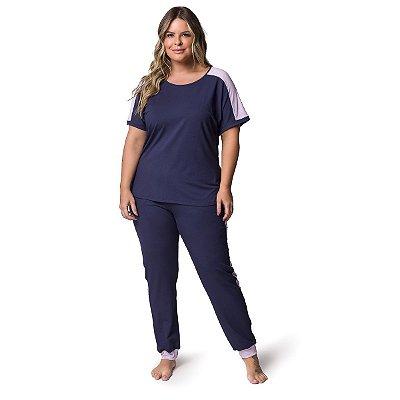 Pijama Feminino Plus Size de Manga Curta Marinho e Lilás