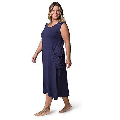 Camisola Plus Size Midi Regata com Bolso Azul Marinho