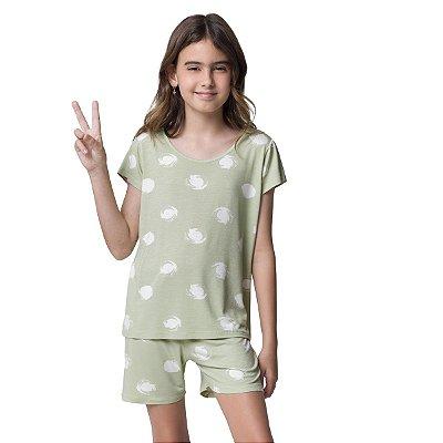 Short Doll Infantil de Manga Curta Verde Circular