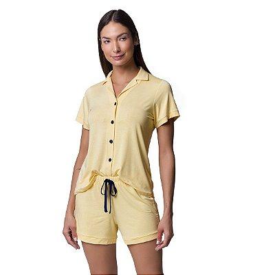 Pijama Feminino Curto Aberto Amarelo Bombocado