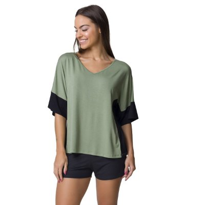Pijama Feminino Curto Bicolor Verde e Preto