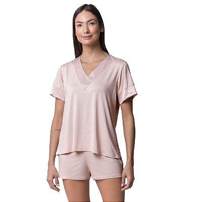 Pijama Feminino Curto Rosê com Cetim