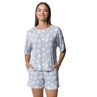 Pijama Feminino Curto com Bolso Onça Azul