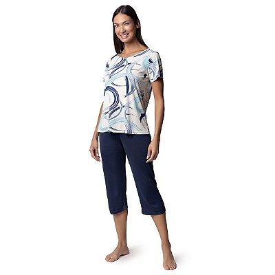 Pijama Feminino Capri Azul Caleidoscópio