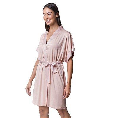 Robe Feminino Curto Rosê com Cetim