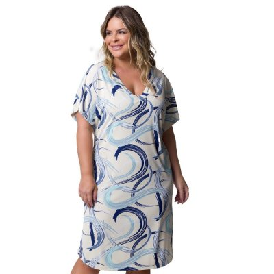 Camisão Feminino Plus Size Azul Caleidoscópio