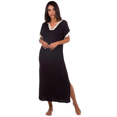 3a7174857 Robe de Cetim Preto com Renda - Inspirate