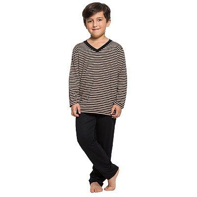 589bd535b Pijama Infantil Masculino de Inverno Listrado