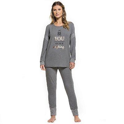 94e38226492403 Pijama Longo Feminino Adulto de Inverno