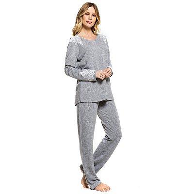 fb3159b00 Pijama de Inverno Grafite com Renda - Inspirate