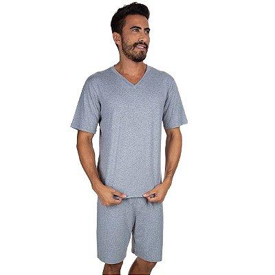 Pijama Masculino Curto Liso Mescla