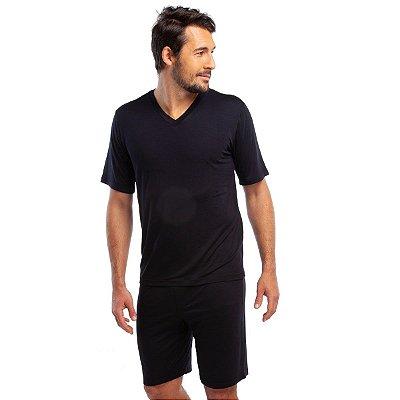 Pijama Masculino Curto Liso Preto