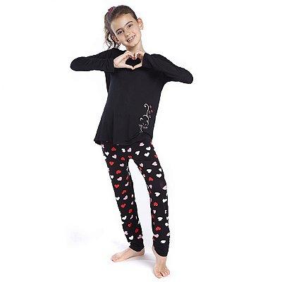 Pijama Infantil Feminino de Inverno Preto com Corações