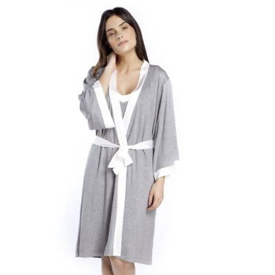 Robe Midi Mescla e Cetim Off White