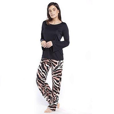 Pijama Feminino de Inverno Animal Print Safari