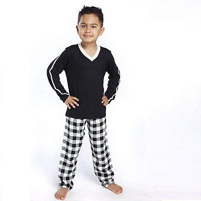Pijama Masculino Infantil Longo Xadrez Preto