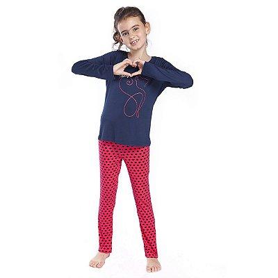Pijama Feminino Infantil de Inverno Red Cat