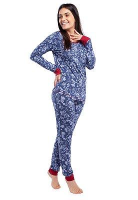 Pijama Feminino de Inverno Flores Jeans com Punho Vermelho