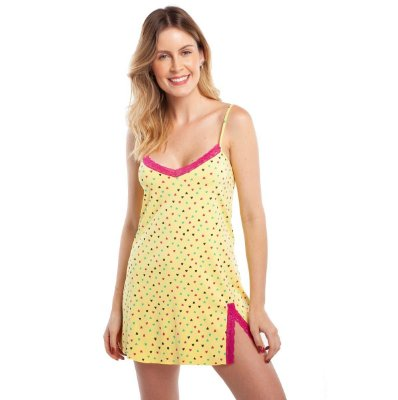 Camisola Curta de Alcinha Heart com Renda Pink