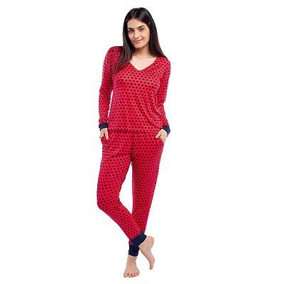 Pijama Feminino de Manga Longa com Bolso Red Cat