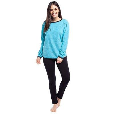 Pijama Feminino de Inverno Soft Turquesa