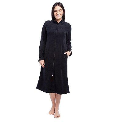 Robe Feminino de Inverno Plush Boucler Preto