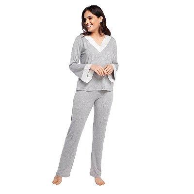 Pijama Feminino de Inverno Mescla com Off White