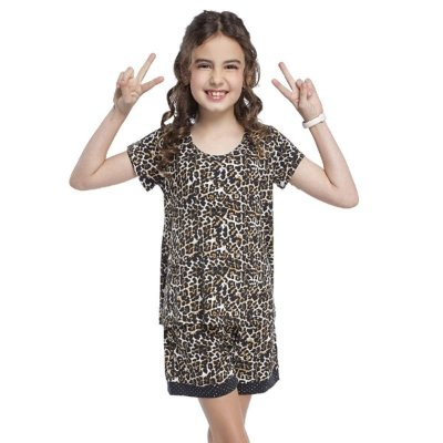 Short Doll Infantil com Manga Curta Safari Chic