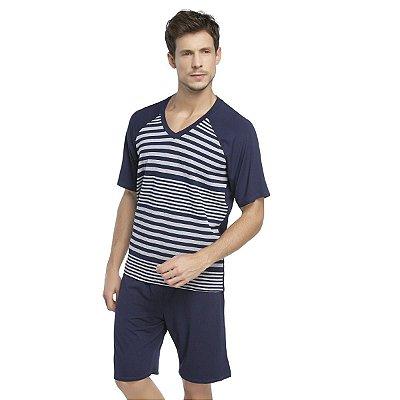 Pijama Masculino Curto Stripe Navy