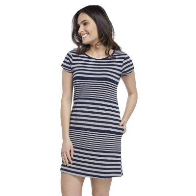 Camisão Feminino Curto Stripe Navy com Bolso