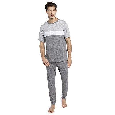 Pijama Masculino com Calça e Punho em Tons de Mescla