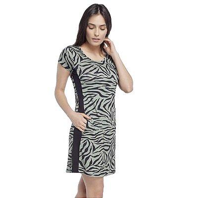 Camisão Feminino Curto Zebra Lounge com Bolso