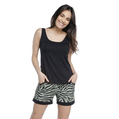 Short Doll Zebra Lounge com Regata Preta