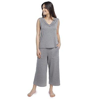 Pijama Feminino Pantacourt com Bolso Mescla