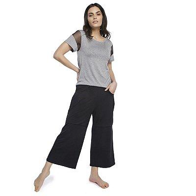 Pijama Feminino Pantacourt com Bolso Mescla e Preto
