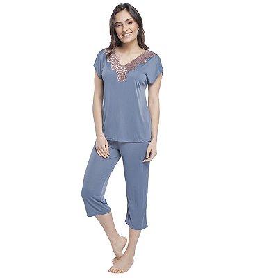 Pijama Feminino Capri Azul Denim com Renda Rosê Acobreado