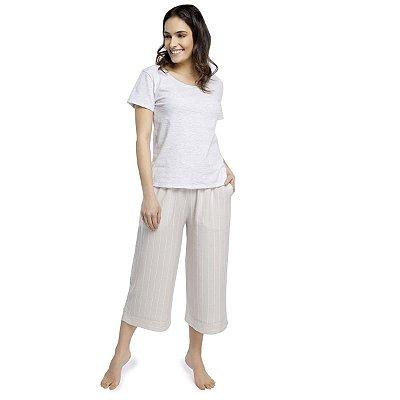 Pijama Feminino Pantacourt com Bolso Stripe Off White
