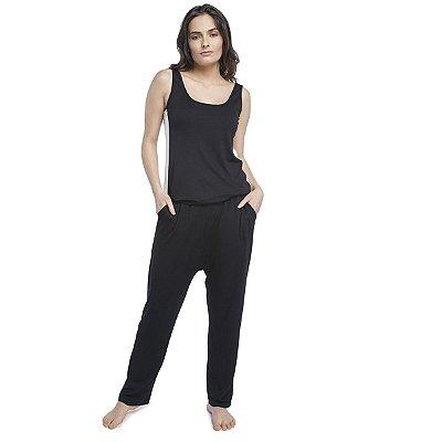 Pijama Feminino Regata e Saruel Preto e Off White