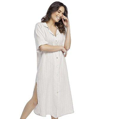 Camisão Feminino Midi com Fenda Stripe Off White