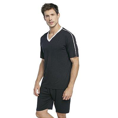 Pijama Masculino Curto Preto com Gola Off White