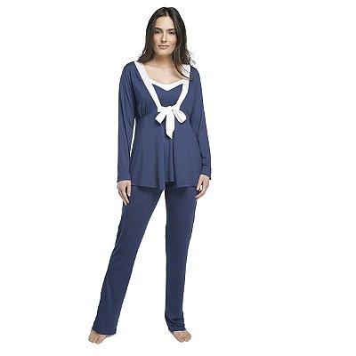 Pijama Feminino Triplex Gestante Azul Intenso com Cetim Off White