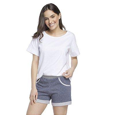 Pijama Feminino Curto com Bolso Jeans e Branco